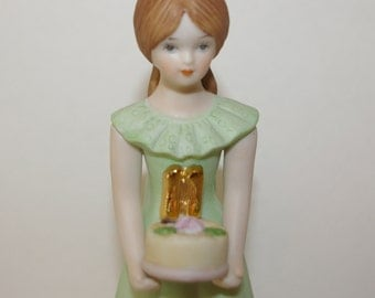 Girls 11th Birthday Figurine, Cake Topper, By Enesco, Made in Srilanka, Vintage 1982