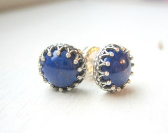 Lapis Lazuli Cabochon Earrings - Sterling Silver Studs - Antique Crown - Post Earrings