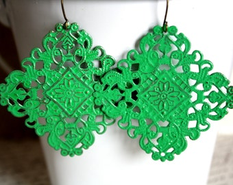 Clover Green Earrings,, Handpainted Earrings, Bronze Filigree Earrings,Earrings Boho Earrings Rustic Jewelry Dangle Earrings