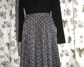 Vintage 70s Does 50s Acrylic Pleated Plaid Skirt