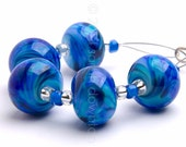 Lagoon Ripple 5 - Handmade Lampwork Glass Beads by Sarah Downton