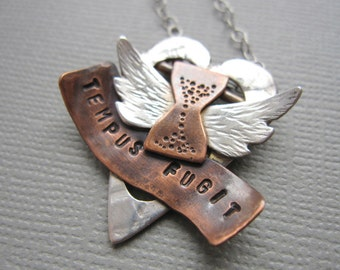 Tempus Fugit Time Flies Heart Necklace Sterling Silver Copper