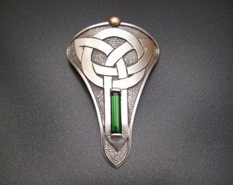 Sterling Silver Celtic Bolo with Green Tourmaline