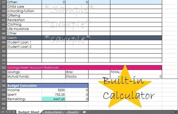 budgeting form