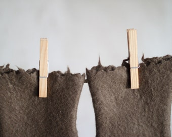 Coffee brown felted mittens merino wool gloves arm warmers women winter accessories Christmas gift for her - ready to ship