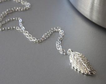 Leaf Pendant Necklace, Sterling Silver Leaf, Leaf Necklace, Sterling Silver Chain, Dainty Necklace