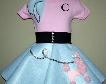 Adorable Toddler 12-18-24m 3pc Baby blue and Baby pink Patty poodle skirt outfit