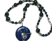 Azurite Malachite Pendant Necklace, Blue Green Gemstone Pendant Necklace
