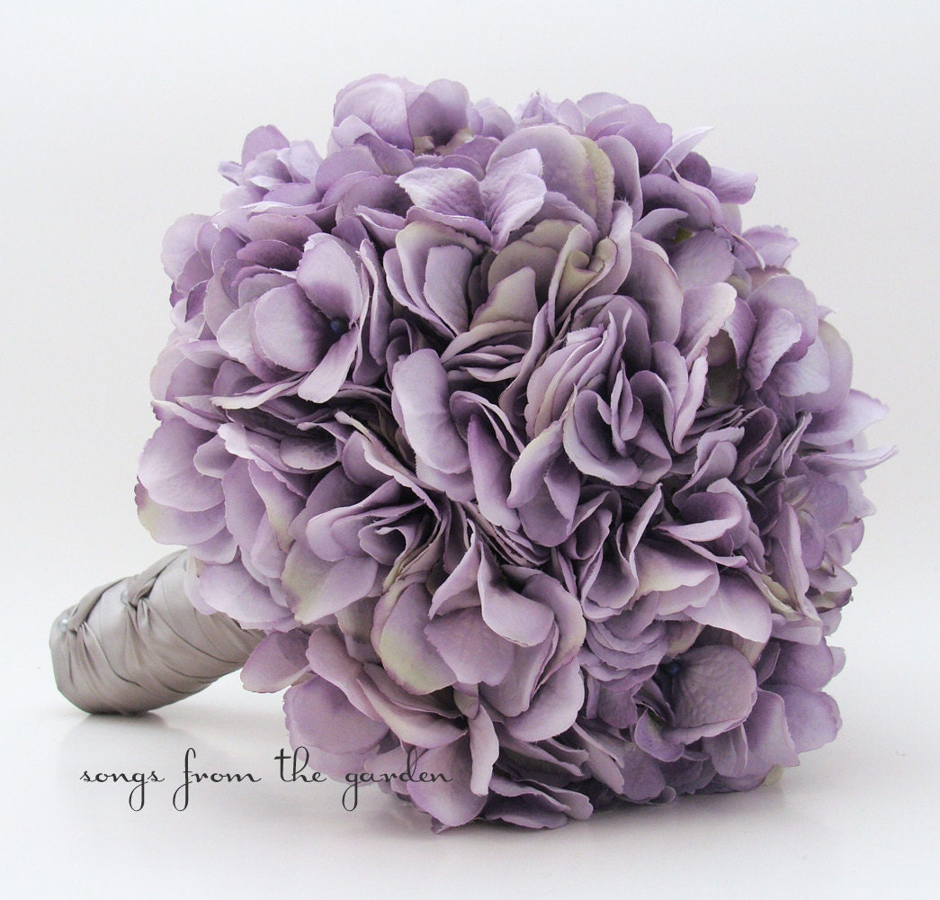 Wedding Bouquet Lavender Silk Hydrangea Groom Boutonniere