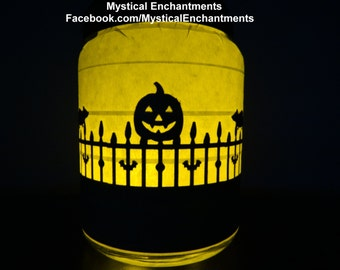 PUMPKIN & RATS on fence 360 Halloween Lantern Candle Holder