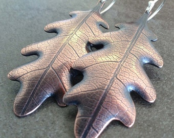 Oak Leaf copper earrings in autumn colors and rich earth tones with sterling silver hooks
