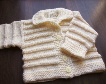 Hand Knitted Baby Sweater Hand knit Baby Cardigan Jacket Ready to ship 12 Months