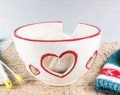 Ceramic Yarn Bowl, Knitting Crochet bowl, White Bright Red rim Heart handmade bowls ceramics knitting supplies  cp, Made to ORDER