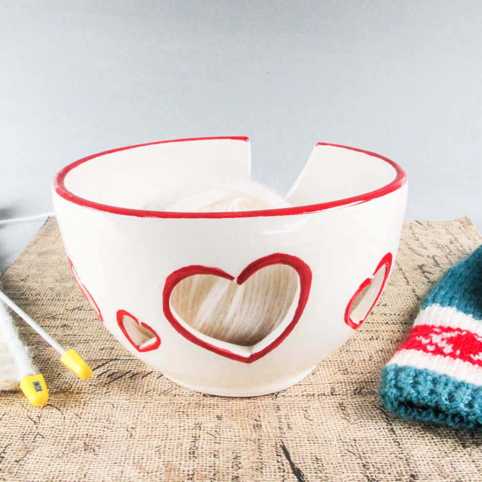 Crochet Yarn Bowl : Ceramic Yarn Bowl Knitting Crochet bowl White by blueroompottery