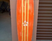 "Distressed surfboard wall hanging, five foot distressed, ""faux antique"" surfboard wall art"