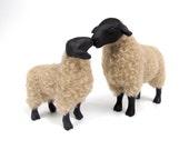English Suffolk Ewe and Lamb Figures  Nose to Nose, Porcelain Animal Figurines