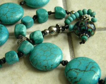 Leather Knotted Turquoise Dyed Howlite Necklace