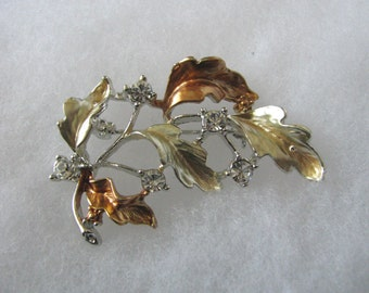 Exquisite vintage mixed metal leaf brooch pin with rhinestone accents