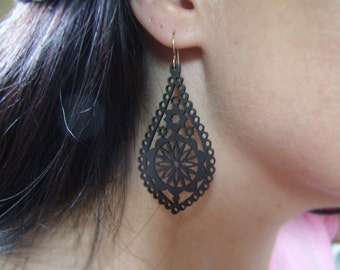 Intricately Carved/Cut Wood Earrings - Brown Cathedral Shaped - Matte Brown - Gifts for Her Under 20 - Goldfill and Wood - Chandelier Cut
