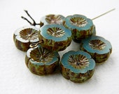 Sea Blue opal pansy flower beads, Large glass table cut flower beads, Opal Sea Blue with rustic Picasso 14mm  (6pcs) NEW