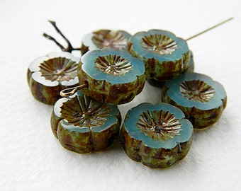 Sea Blue opal pansy flower beads, Large glass table cut flower beads, Opal Sea Blue with rustic Picasso 14mm  (6pcs) NEW