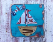 License Plate Artwork Sail Sailing Boat -  Boys Room Nursery Nautical Adventure - Baby Shower Customize Personalized Art Playroom Bathroom