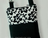 Made to Order Solid Black Linen and Damask iPhone 6 Plus Phone Case Zipper Closure with Wristlet iPhone Samsung Android