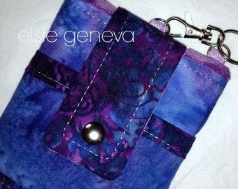 Batik Phone Case Indigo Blue Purple and Orchid Lavender  with Wristlet Back Zipper Pocket iPhone 4 5 6 Note Plus Optional Shoulder Strap