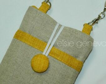 Natural Japanese Linen & Mustard Yellow Phone Case Wristlet iPhone 6 Plus Samsung Note Galaxy Burlap Cross Body Satchel Wallet