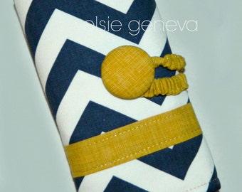 Made to Order  Navy Blue and Mustard Yellow Chevron Zig Zag Crochet Hook Case Organzier Sewn in Zipper Pocket Button Closure