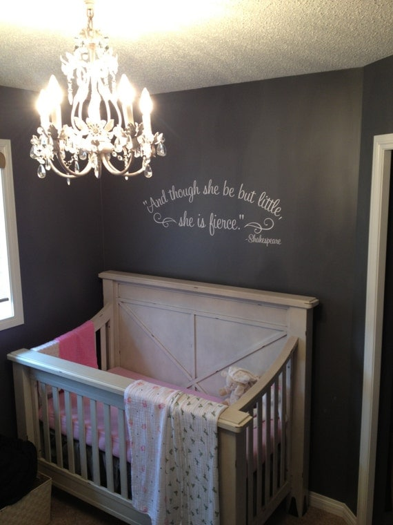 And though she be but little she is fierce Shakespeare wall decal nursery decal