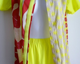 90s Wild and Lethal Trash by Walter van Beirendonck fluorescent pattern top and skirt