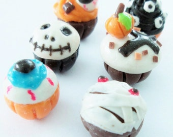 Miniature Foods for Dollhouse and Beads Jewelry, Halloween set, 12 pieces
