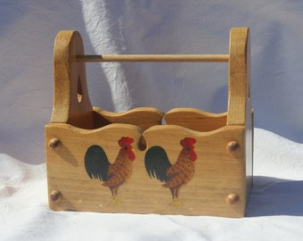 rooster tote, wood tote box, wooden caddy, rooster painting, acrylic painting, hand painted box, wooden tote, wooden box, decorative box,
