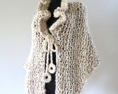 Light Beige Cream Oatmeal Off White Chunky Long Shawl Wrap with Ruffles and Ties