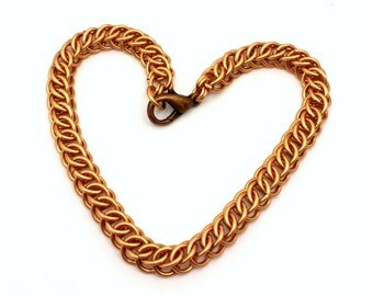 Brass or  Copper Half Persian Chainmaille Weave Bracelet