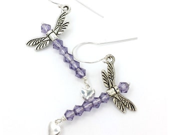Purple Crystal Dragonfly Earrings with Silver Heart Charm