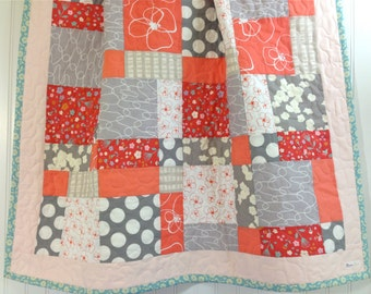 CLEARANCE! 50% OFF! Peony, Modern Baby Quilt, Toddler Quilt, Crib Quilt, 37 x 45, Coral and Gray