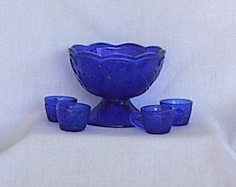 Cobalt blue glass Trout and Floral design Miniature Punch Bowl and cups Summit Art Glass 1970s 1980s