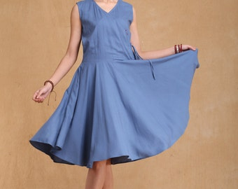Summer dress Loose fitting Long Sundress Maxi Dresss in Blue (more colour and size choice)-NS29