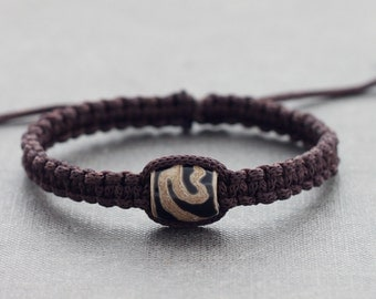 Men Polymer Clay Brown Nylon Woven Bracelet