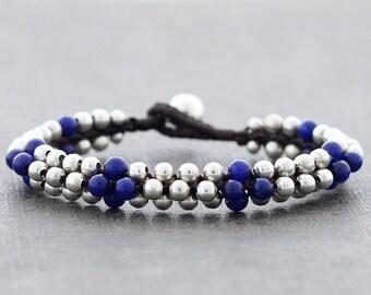Blue Jade Rounded Silver Bracelet