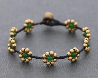 Daisy Green Jade Braided Bracelet