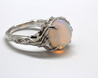 Sterling silver opal tree ring holding up the moon NYC Blue Bayer Design
