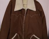 Vintage Men's Key Jacket, Barn Coat, Field Hunting Coat, Brown Canvas, Sherpa Lined, SIZE XL