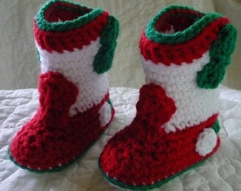 Red White and Green Rockabilly Crocheted Cowboy Cowgirl Booties 6 to 9 months