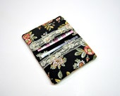 Black Floral Wallet with Lace