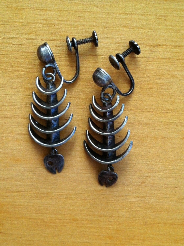 Reserved modernist silver fish bone skeleton earrings signed for Fish bone earrings