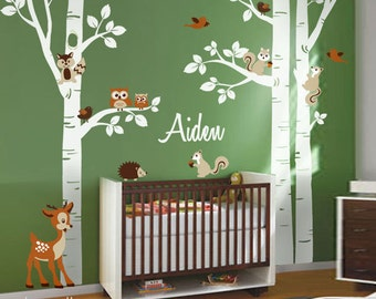 Birch Trees Wall Decal Nursery Wall Decal Forest Trees Wall Decal Animals Sticker Owls Squirrels Bambi Wall Decal Baby Room Art Decor