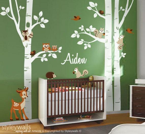 For t animaux bouleau arbres sticker mural pour chambre for Autocollant mural arbre